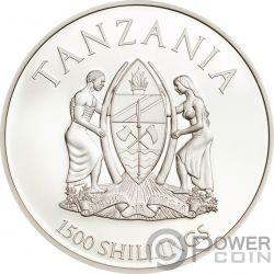 PANTHERA LEO Leon Rare Wildlife 2 Oz Moneda Plata 1500 Shillings Tanzania 2018