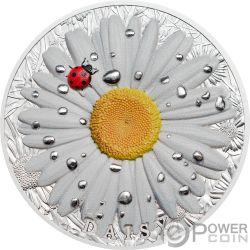 DAISY Marienkäfer-Gänseblümchen High Relief Flowers Leaves 2 Oz Silber Münze 10$ Palau 2018