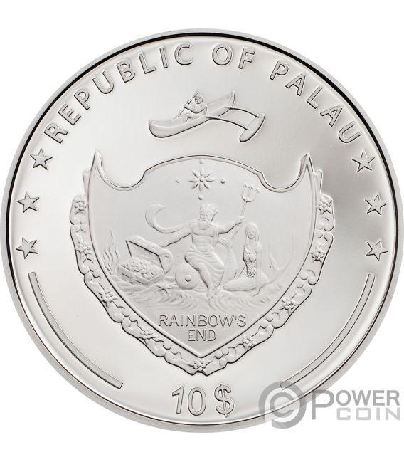 DAISY Ladybug High Relief Flowers Leaves 2 Oz Silver Coin 10$ Palau 2018