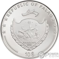 DAISY Margarita Mariquita High Relief Flowers Leaves 2 Oz Moneda Plata 10$ Palau 2018