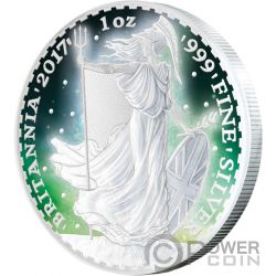 BRITANNIA Rodio Frozen Rhodium Aurora 1 Oz Moneda Plata 2£ United Kingdom 2017