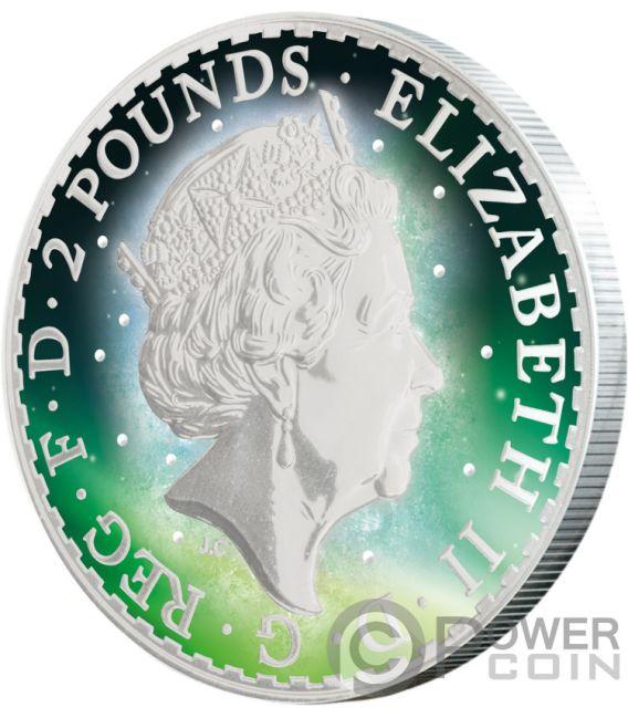BRITANNIA Frozen Rhodium Aurora 1 Oz Silver Coin 2£ United Kingdom 2017
