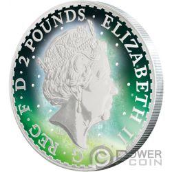 BRITANNIA Frozen Rhodium Aurora 1 Oz Серебро Монета 2£ Великобритания 2017