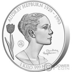 AUDREY HEPBURN 25 Anniversario 1 Kg Kilo Moneta Argento 25$ Samoa 2018