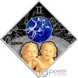 GEMINI Zwillinge Zodiac Signs Silber Münze 100 Denars Macedonia 2018