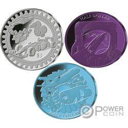 TITANIUM Anodization Set 3 Монеты 1$ 50 Центов Фи́джи Самоа 2018