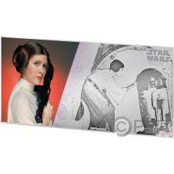 PRINCESS LEIA Star Wars New Hope Foil Silver Note 1$ Niue 2018