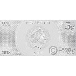 PRINCESS LEIA Star Wars New Hope Foil Серебро Note 1$ Ниуэ 2018