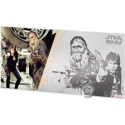 HAN SOLO AND CHEWBACCA Star Wars neue Hoffnung Foil Silber Note 1$ Niue 2018