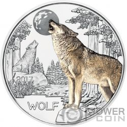 WOLF Lobo Colourful Creatures Glow In The Dark Moneda 3€ Euro Austria 2017