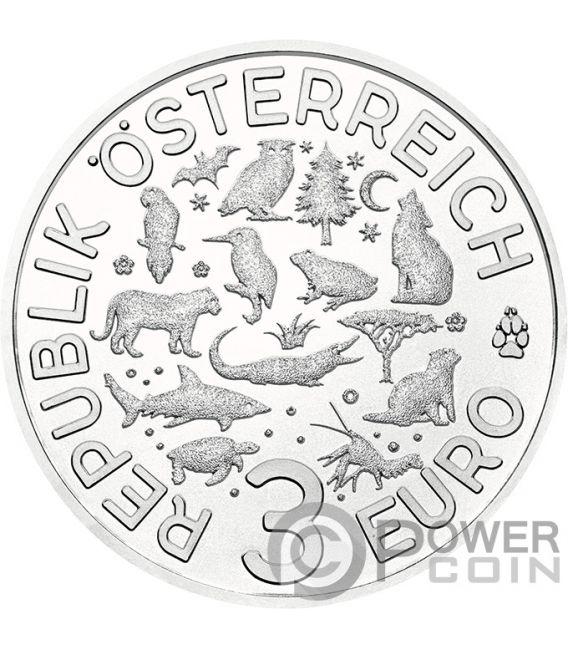 WOLF Colourful Creatures Glow In The Dark Münze 3€ Euro Austria 2017