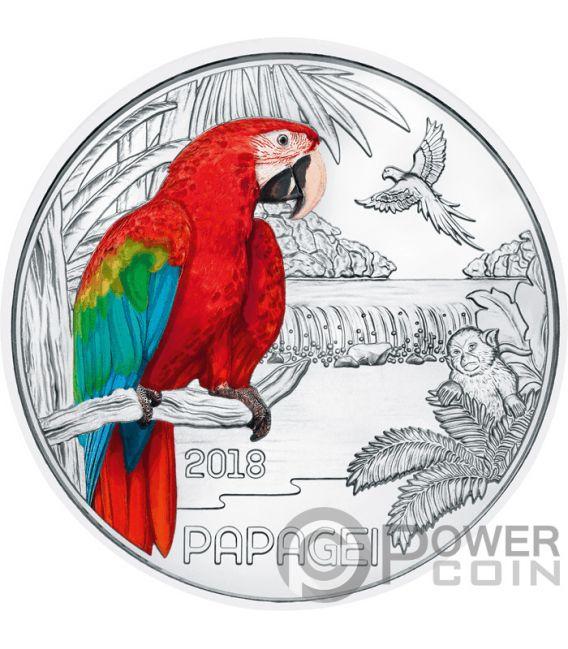 PARROT Papagei Colourful Creatures Glow In The Dark Münze 3€ Euro Austria 2018