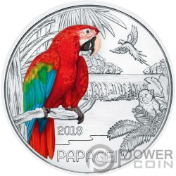 PARROT Papagayo Colourful Creatures Glow In The Dark Moneda 3€ Euro Austria 2018