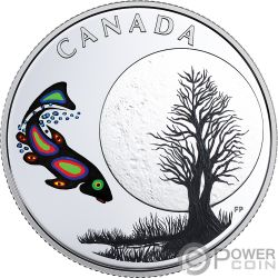 SUCKER MOON Teachings From Grandmother Silver Coin 3$ Canada 2018