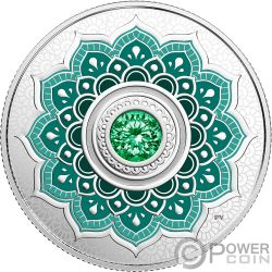 MAY Kann Birthstone Swarovski Crystal Silber Münze 5$ Canada 2018