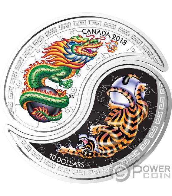 Black And White Yin Yang Tiger Dragon Set 2 Silver Coins