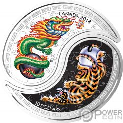 BLACK AND WHITE YIN YANG Tiger Dragon Set 2 Silver Coins 10$ Canada 2018