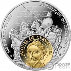 CERVANTES AND SHAKESPEARE Don Quixote Romeo Juliet Silver Coin 500 Francs Cameroon 2016