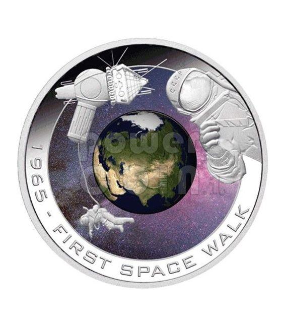 LEONOV First Walk Man In Space Moneda Plata 1$ Cook Islands 2009