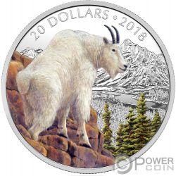 METTLESOME MOUNTAIN GOAT Capra delle Nevi Majestic Wildlife 1 Oz Moneta Argento 20$ Canada 2018