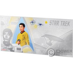 SULU Hikaru Timoniere Star Trek Original Series Banconota Argento 1$ Niue 2018