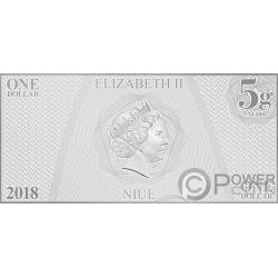 SULU Hikaru Helmsman Star Trek Original Series Foil Silver Note 1$ Niue 2018