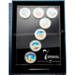 SEVEN WONDERS PORTUGAL 7 Silber Münze Set 1$ Cook Islands 2009