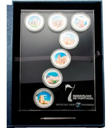 SEVEN WONDERS PORTUGAL 7 Silver Coin Set 1$ Cook Islands 2009