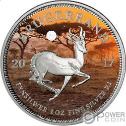 KRUGERRAND Colorata 1 Oz Moneta Argento 1 Rand South Africa 2017