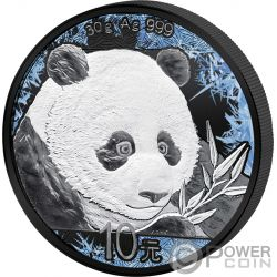 PANDA Deep Frozen Edition Rutenio Platino Moneta Argento 10 Yuan China 2018