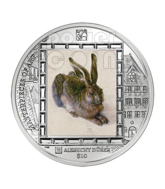 YOUNG HARE Durer Rabbit Silver Coin 10$ British Virgin Islands 2011