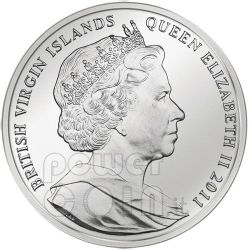 YOUNG HARE Durer Rabbit Moneda Plata 10$ British Virgin Islands 2011