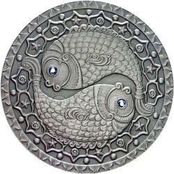 PESCI Oroscopo Zodiaco Swarovski Moneta Argento Bielorussia 2009