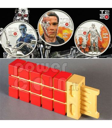 TERMINATOR T2 Set 3 Monete Argento 5$ Cook Islands 2011