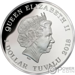 DINGO Australia Deadly Dangerous 1 Oz Moneda Plata 1$ Tuvalu 2018