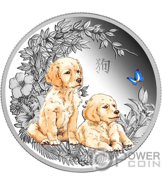 DOG Perro Coloreada Lunar Series 1 Oz Moneda Plata 1000 Francos Chad 2018