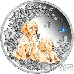 DOG Hund Farbig Lunar Series 1 Oz Silber Münze 1000 Francs Chad 2018