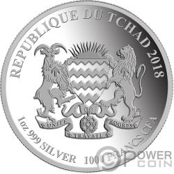 DOG Coloured Lunar Series 1 Oz Silver Coin 1000 Francs Chad 2018