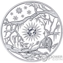 WINTER Invierno Crystal Four Seasons 2 Oz Moneda Plata 5$ Niue 2017