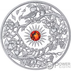 AUTUMN Otono Crystal Four Seasons 2 Oz Moneda Plata 5$ Niue 2017