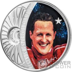 MICHAEL SCHUMACHER Legends of Sports Sid Maurer 1 Oz Moneta Argento 5$ Solomon Islands 2018