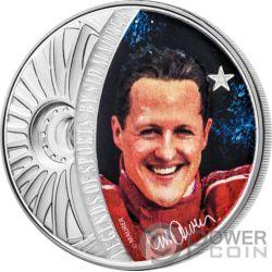 MICHAEL SCHUMACHER Legends of Sports Sidney Maurer 1 Oz Серебро Монета 5$ Соломонские Острова 2018