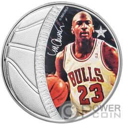 MICHAEL JORDAN Legends of Sports Sid Maurer 1 Oz Moneda Plata 5$ Solomon Islands 2018