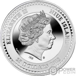 LUCKY SEVEN Siete Afortunado Symbols of Good Luck Moneda Plata 25$ Niue 2018