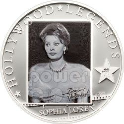 SOPHIA LOREN Hollywood Legends Silver Coin 5$ Cook Islands 2011