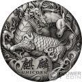 QI LIN Unicorn 2 Oz Silver Coin 2$ Tuvalu 2018