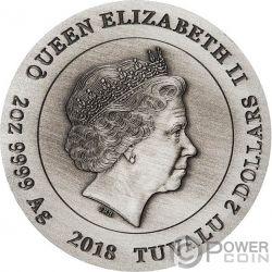 QI LIN Einhorn 2 Oz Silber Münze 2$ Tuvalu 2018