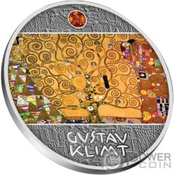 TREE OF LIFE Arbol Vida Gustav Klimt Golden Five Moneda Plata 1$ Niue 2018
