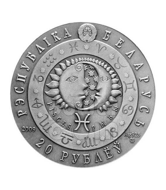 PISCES Horoscope Zodiac Swarovski Silver Coin Belarus 2009