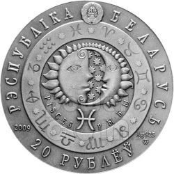 PISCES Horoscope Zodiac Swarovski Серебро Монета Белоруссия 2009